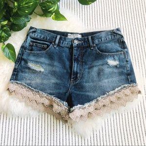 Free People Crochet Lace Trim Cut-off Shorts - 24